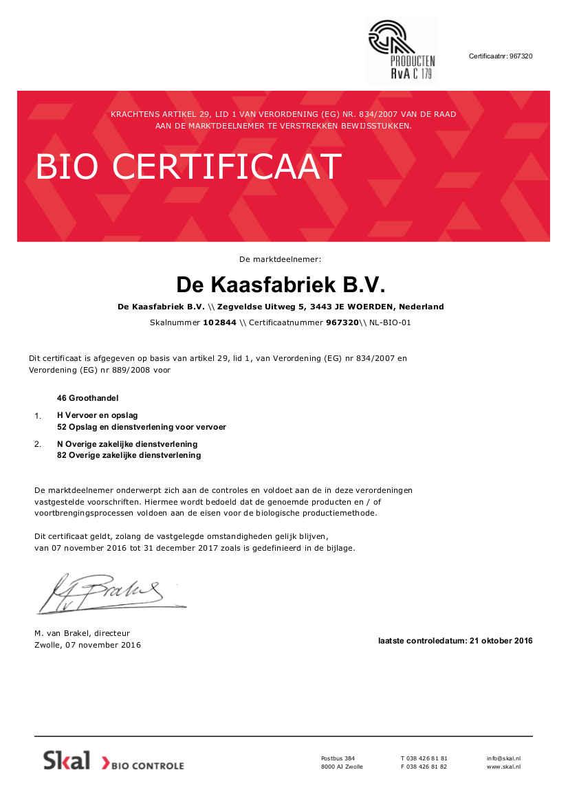SKAL BIO Certificaat 2017