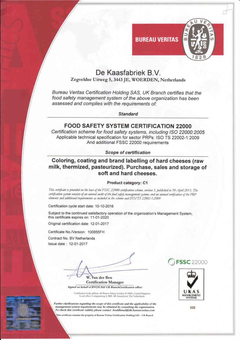 certificaat FSSC 22000 De Kaasfabriek